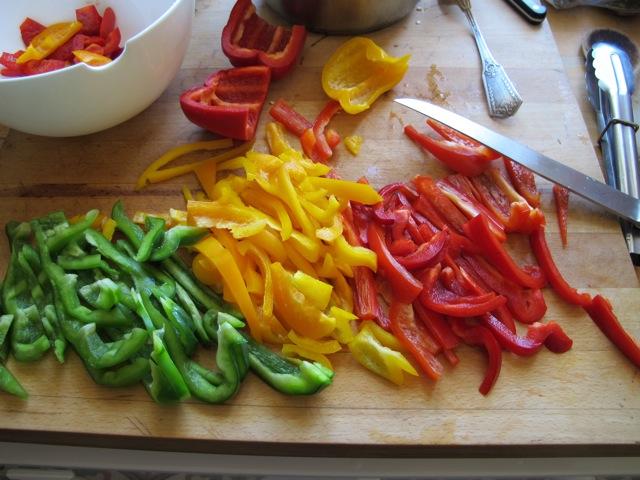 'tricolore' de poivrons