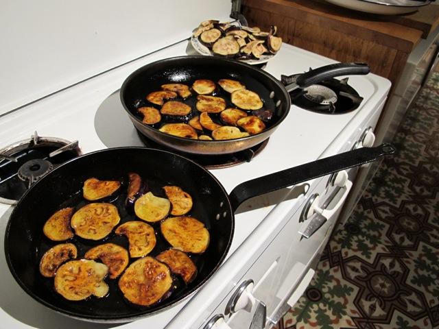 frying the eggplant