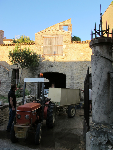 Benji and tractor at la cave (the wine cellar) on Boulevard Napoleon