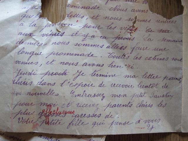 a letter from 'votre petite fille'