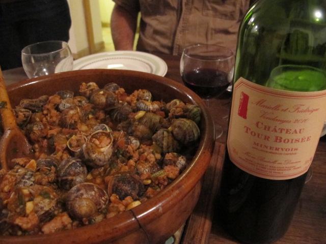 snails and La Tour Boisee 2010 Minervois