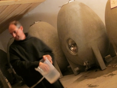 Frere Francois in the barrel and ageing cellar