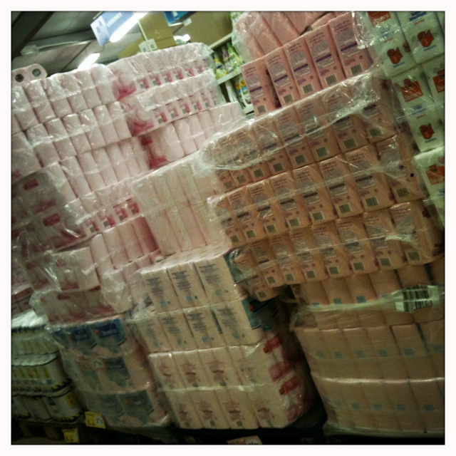 mountains of lush pink dunny paper