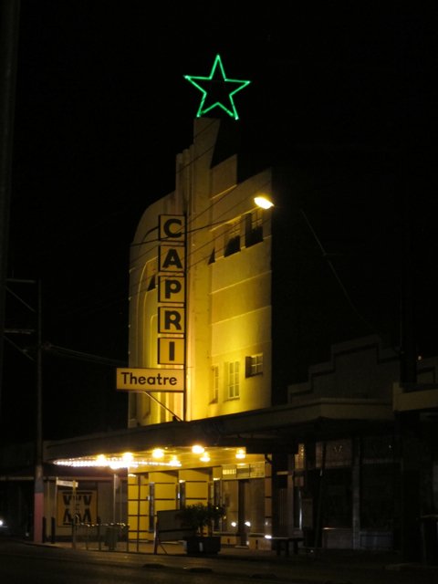 The Capri - a much-loved movie theatre around the corner from where I used to live.  'The Mighty Wurlitzer' is played live, each Friday and Saturday night