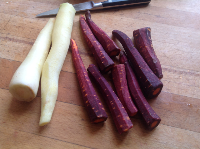 had to show you these beautifully coloured carrots - they actually gave the milk sauce an almost mauve tint by the end