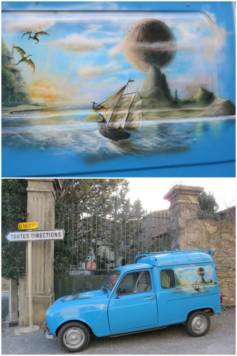 check out the airbrush work on the hot rod... a Renault 4L van