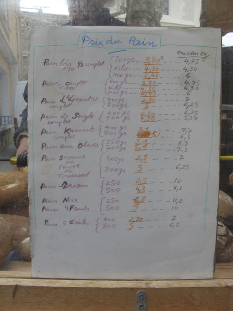 I love this - it's Pierre the baker's price list at the Olonzac market