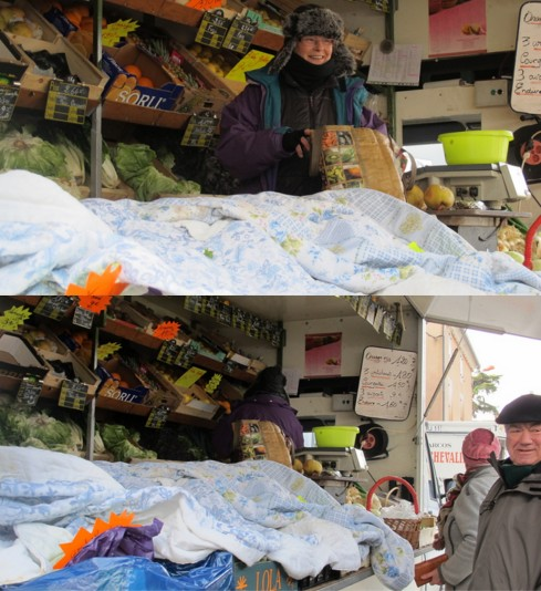 This was a first for me...  the ladies in the market vans had old quilts and blankets protecting their produce on a recent market morning.  It was below freezing and bloody cold!