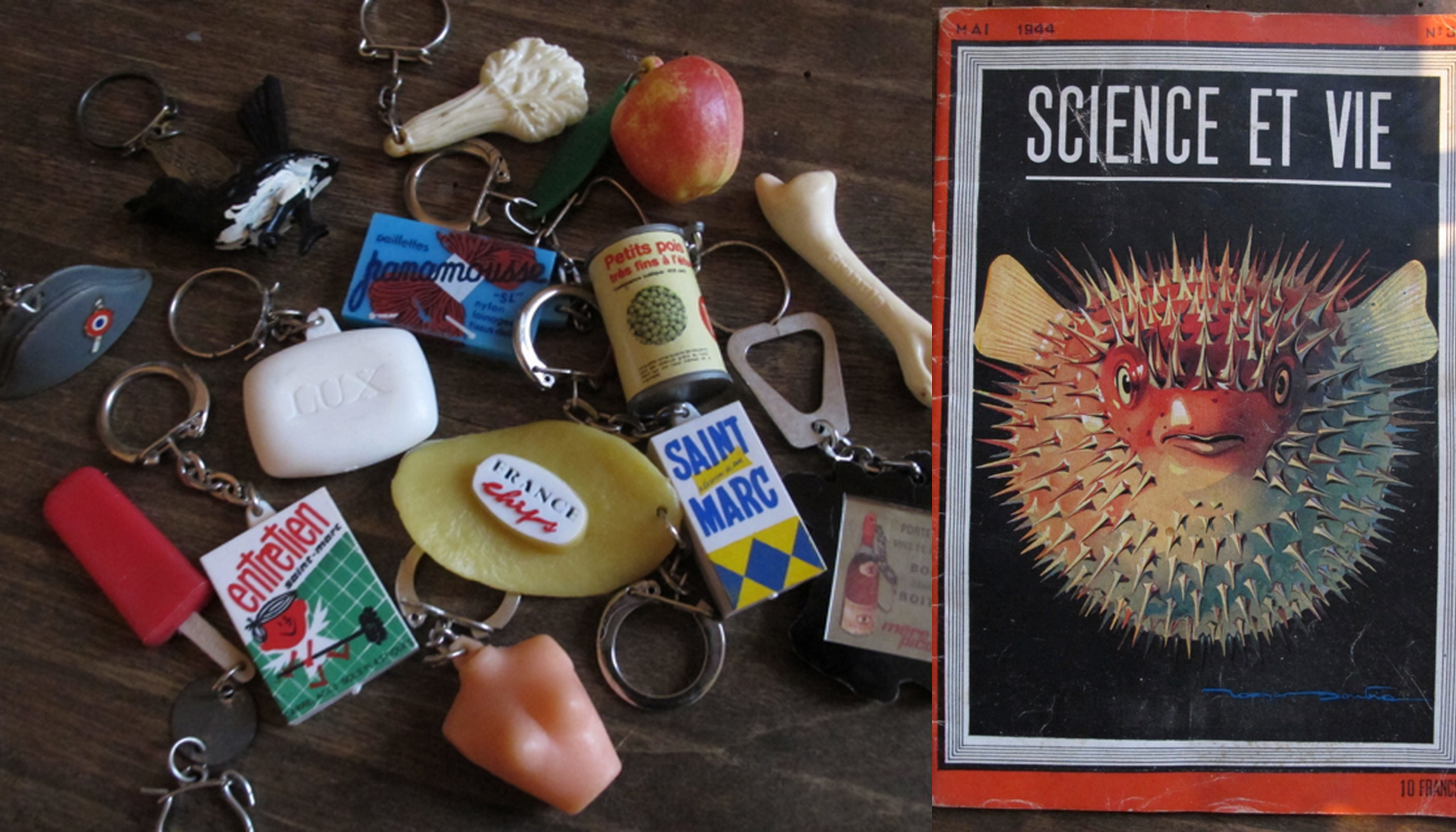 """A few things from last weekend's 'Vide-Grenier' (village garage sale):  some keyrings and an old """"Science et Vie' magazine from 1944.Ashamed to say I get obssessed with many things, advertising keyrings from the 60s is one of them!  And I've just discovered there is even a name for it - 'Copoclephliie' (!!)"""