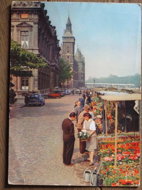 another old Paris postcard:  'Marche aux Fleurs de la Cite'